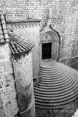 Photograph - Black And White, Stonework Of St Dominika Street, Game Of Thrones Kings Landing, Dubrovnik, Croatia by Global Light Photography - Nicole Leffer