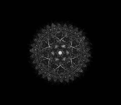 Digital Art - Black And White Sunburst by Angie Tirado