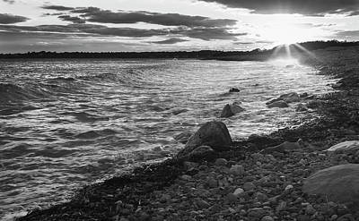 Photograph - Black And White Sunset Along The Shoreline by Andrew Pacheco