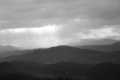 Photograph - black and white Sunshine on the Mountains by rd Erickson