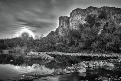 Photograph - Black And White Super Moon Rise Over The Salt River Arizona by Dave Dilli