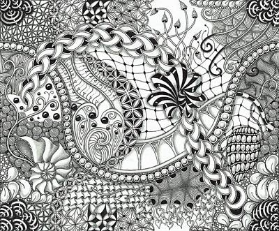 Wall Art - Drawing - Black And White Tangle Art by Stefanie Van Leeuwen