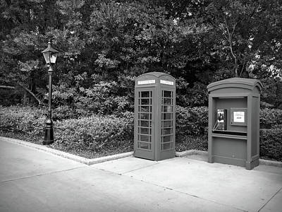 Photograph - Black And White Telephone Booth by Aimee L Maher Photography and Art Visit ALMGallerydotcom