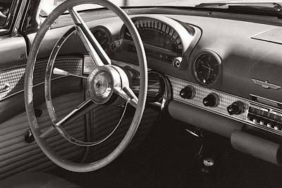 Photograph - Black And White Thunderbird Steering Wheel And Dash by Heather Kirk