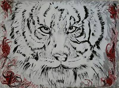 Wildcats Painting - Black And White Tiger by Christina Taylor