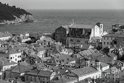 Photograph - Black And White, Tile Roofs Of Dubrovnik, From The City Walls, Dubrovnik, Croatia by Global Light Photography - Nicole Leffer