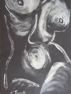 Frontal Nude Painting - Black And White Torso 3 - Female Nude by Carmen Tyrrell