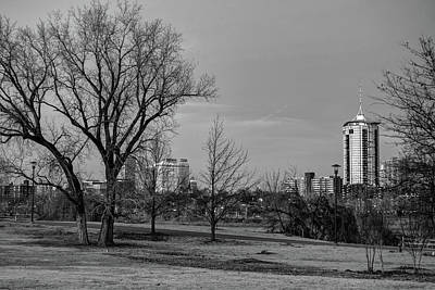 Cityscapes Photograph - Black And White Tulsa Cityscape Skyline by Gregory Ballos