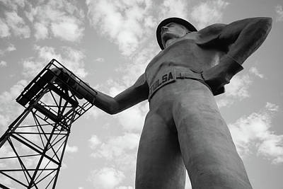 Photograph - Black And White Tulsa Driller Statue Art by Gregory Ballos