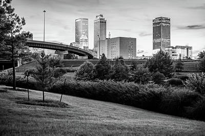 Black And White Tulsa Skyline Park View Art Print by Gregory Ballos
