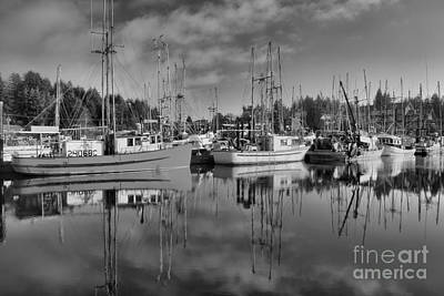 Photograph - Black And White Ucluelet Fishing Boats by Adam Jewell