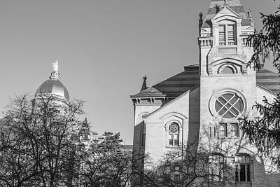 Photograph - Black And White University Of Notre Dame  by John McGraw