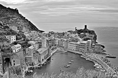 Photograph - Black And White Vernazza by Frozen in Time Fine Art Photography
