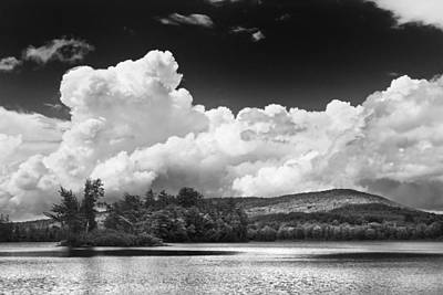 Photograph - Black And White Vienna Maine Flying Pond With Storm Clouds Fine Art Print by Keith Webber Jr