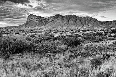 Photograph - Black And White View Of El Capitan And Guadalupe Peak - Guadalupe Mountains National Park West Texas by Silvio Ligutti