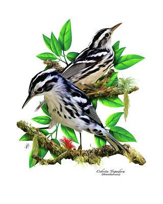 Warbler Digital Art - Black-and-white Warbler by Jose Victoria