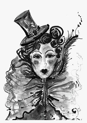 Moulin Rouge Mixed Media - Black And White Watercolor Fashion Illustration by Marian Voicu