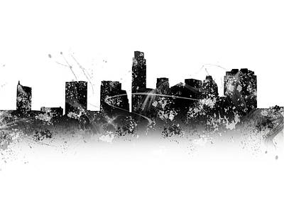 Abstract Digital Photograph - Black And White Watercolor Of Austin Skyline by Tod and Cynthia Grubbs