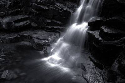 Photograph - Black And White Waterfall by Sherman Perry