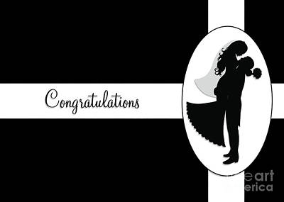 Digital Art - Black And White Wedding Couple by JH Designs