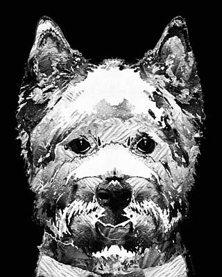 Dog Portrait Painting - Black And White West Highland Terrier Dog Art Sharon Cummings by Sharon Cummings