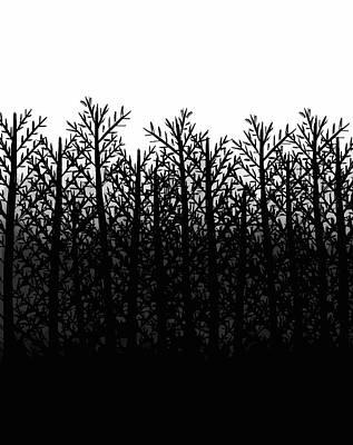 Black And White Winter Trees Print by Rachel Follett