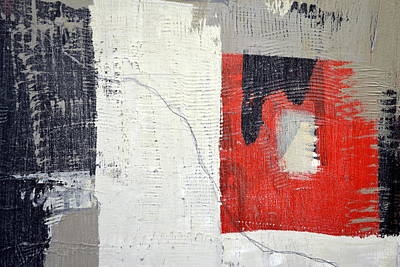 Painting - Black And White With Red Box by Michelle Calkins