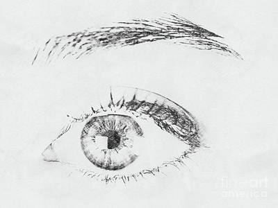 Abstract Digital Drawing - Black And White Woman Eye by Radu Bercan