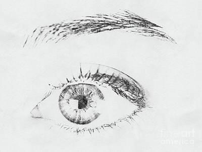 Macro Drawing - Black And White Woman Eye by Radu Bercan