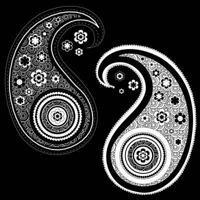 Digital Art - Black And White Yin Yang Paisley Design by Serena King