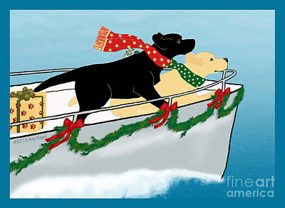 Painting - Black And Yellow Labs Boat To Christmas by Amy Reges