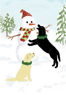 Painting - Black And Yellow Labs With Snowman by Amy Reges