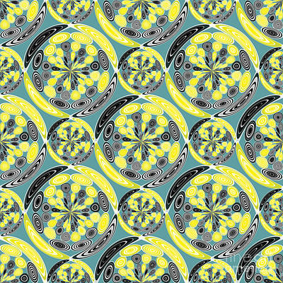 Fine Art Quilts Digital Art - Black And Yellow Pattern by Gaspar Avila