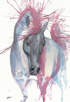 Painting - Black Arabian Horse 2017 07 18 by Angel Ciesniarska