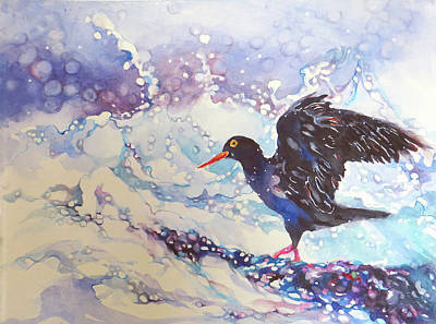 Wall Art - Painting - Black Arctic Oystercatcher  by Beverly Berwick