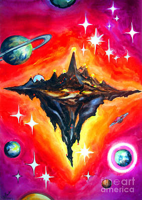 Planet Fantastic Painting - Black Asteroid, Glowing In Red Sky by Sofia Metal Queen