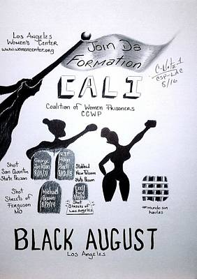 Donald C-note Hooker Drawing - Black August Los Angeles by Cn