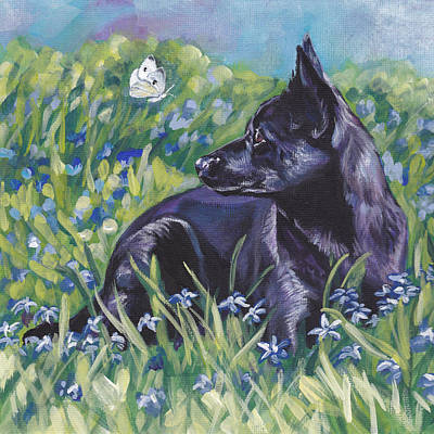 Black Australian Kelpie Art Print by Lee Ann Shepard