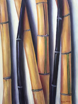 Art Print featuring the painting Black And Gold Bamboos by Randol Burns