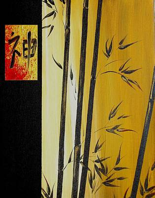 Art Print featuring the painting Black Bamboo Zen  by Dina Dargo