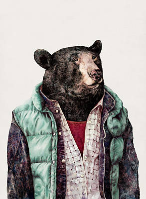 Painting - Black Bear Cyan by Animal Crew