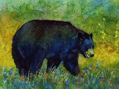 Painting Rights Managed Images - Black Bear Royalty-Free Image by Hailey E Herrera