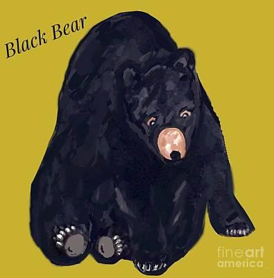 Digital Art - Black Bear Illustration  by Susan Garren