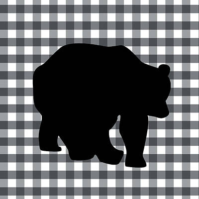 Gingham Digital Art - Black Bear by Linda Woods