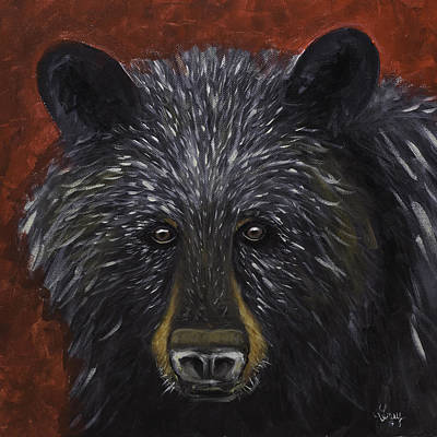 Painting - Black Bear Portrait Original Acylic Painting  by Gray  Artus