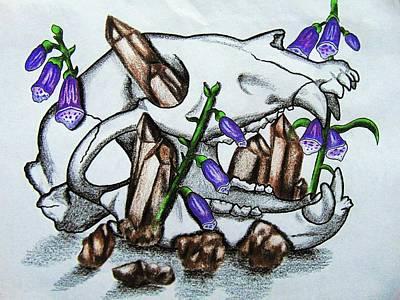 Foxglove Flowers Drawing - Black Bear Skull, Smokey Quartz And Foxglove by Christina Marin