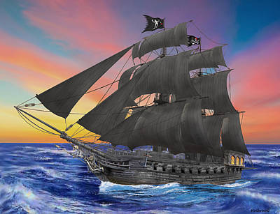 Digital Art - Black Beard's Pirate Ship by Glenn Holbrook