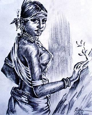 Tribal Women Drawing - Black Beauty - Tribal Woman by Aparna Raghunathan