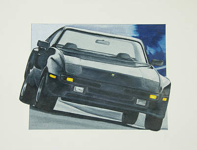 Porsche Drawing - Black Beauty by Gayle Caldwell