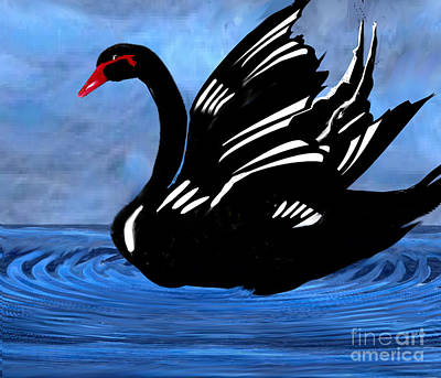 Painting - Black Beauty Swan by Belinda Threeths